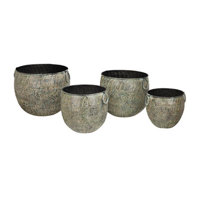 Regal Set of 4 Green Metal Outdoor Flower Planters, , default
