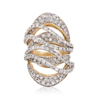 2.75 ct. t.w. Diamond Crisscross Ring in 18kt Yellow Gold
