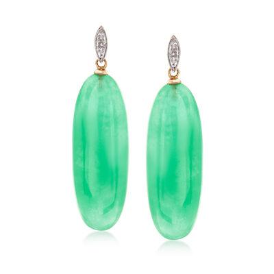 30x11m Green Jade Drop Earrings in 14kt Yellow Gold, , default