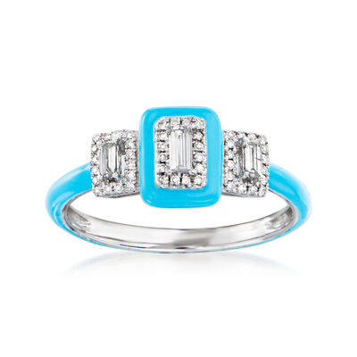.25 ct. t.w. Diamond Ring with Turquoise Enamel in 18kt White Gold