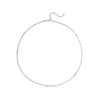 Italian 2mm Sterling Silver Cube Necklace, , default