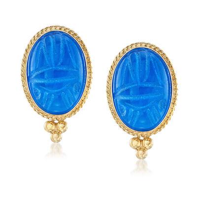 Blue Onyx Scarab Earrings in 14kt Yellow Gold