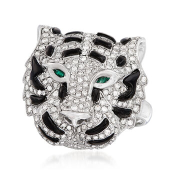 Black Onyx and .85 ct. t.w. Diamond Tiger Ring with Emerald Accents in 18kt White Gold