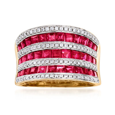2.90 ct. t.w. Ruby and .35 ct. t.w. Diamond Multi-Row Ring in 18kt Yellow Gold