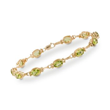 "5.50 ct. t.w. Peridot Bracelet in 14kt Yellow Gold. 7"", , default"