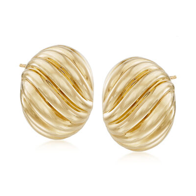 Italian Andiamo 14kt Yellow Gold Ribbed Earrings, , default