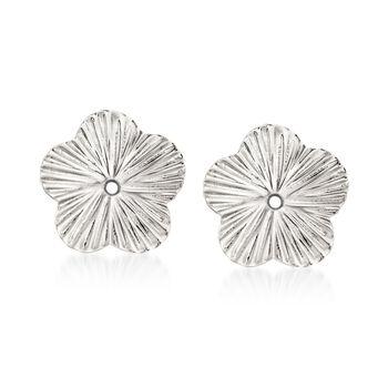 14kt White Gold Flower Earring Jackets