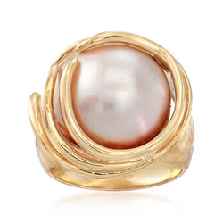 C. 1980 Vintage 15mm Cultured Mabe Pearl Ring in 14kt Yellow Gold, , default