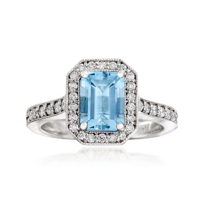 C. 2000 Vintage 1.50 Carat Aquamarine and .45 ct. t.w. Diamond Ring in 14kt White Gold, , default