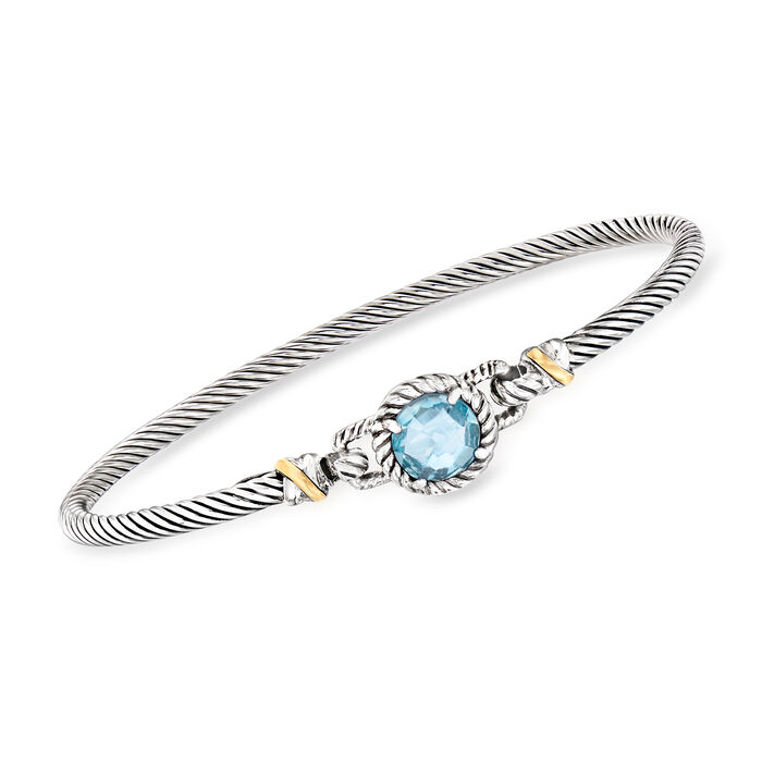 """Phillip Gavriel """"Italian Cable"""" 2.40 Carat Blue Topaz Bracelet in Sterling Silver with 18kt Yellow Gold"""