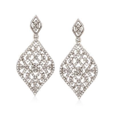 1.00 ct. t.w. Diamond Drop Earrings in Sterling Silver, , default