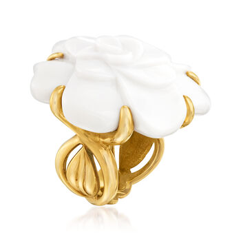 C. 1980 Vintage Chanel White Agate Flower Ring in 18kt Yellow Gold. Size 5.5, , default