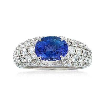 C. 1990 Vintage 2.45 Carat Blue Tanzanite and 1.55 ct. t.w. Diamond Ring in Platinum, , default