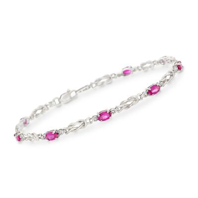 2.40 ct. t.w. Ruby Knot Bracelet with Diamond Accents in 14kt White Gold, , default