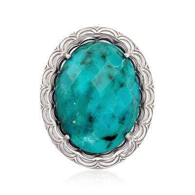 Turquoise Scalloped Frame Ring in Sterling Silver, , default