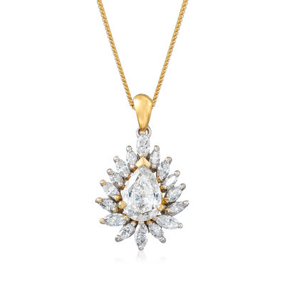 C. 2018 Vintage 2.11 ct. t.w. Certified Diamond Pendant Necklace in 18kt Two-Tone Gold, , default