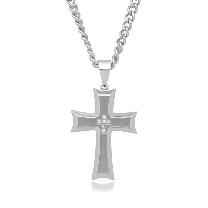 "Men's Stainless Steel Cross Pendant Necklace with Diamond Accents. 24"", , default"