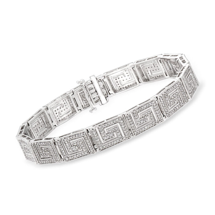 2.00 ct. t.w. Diamond Greek Key Bracelet in Sterling Silver