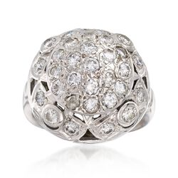 C. 1950 Vintage 1.25 ct. t.w. Diamond Dome Ring in 14kt White Gold, , default
