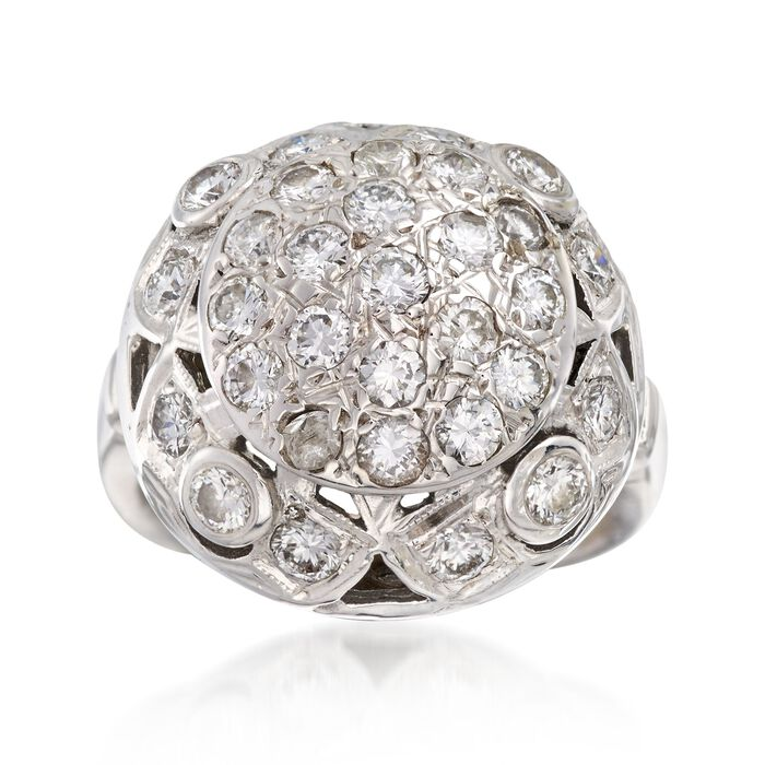 C. 1950 Vintage 1.25 ct. t.w. Diamond Dome Ring in 14kt White Gold. Size 4, , default
