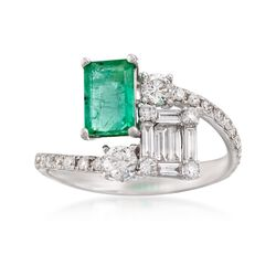 1.10 Carat Emerald and .83 ct. t.w. Diamond Bypass Ring in 18kt White Gold, , default