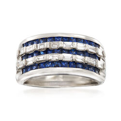 C. 1990 Vintage 1.12 ct. t.w. Sapphire and .54 ct. t.w. Diamond Ring in Platinum. Size 6, , default