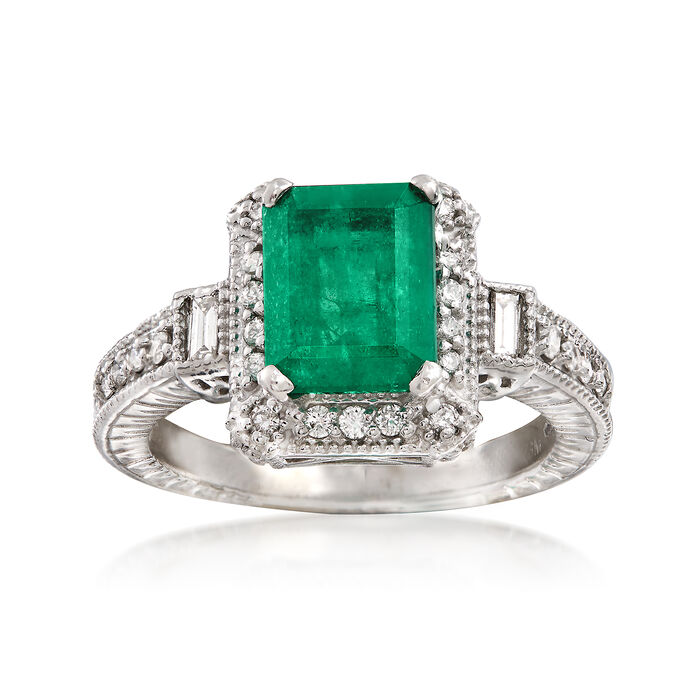 2.00 Carat Emerald and .50 ct. t.w. Diamond Ring in 14kt White Gold, , default