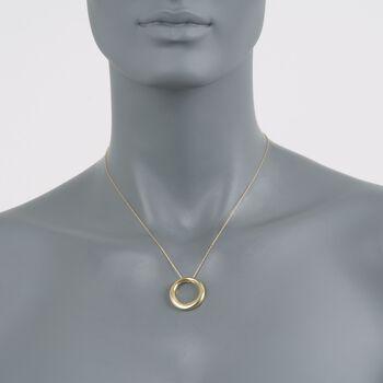 "14kt Yellow Gold Open Eternity Circle Pendant Necklace. 17"", , default"