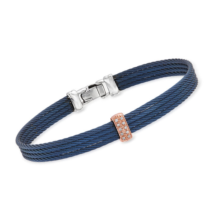 """ALOR """"Classique"""" Navy Stainless Steel Cable Bracelet with Diamond Accents in 18kt Rose Gold. 7"""""""