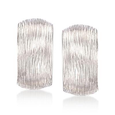 Diamond-Cut Sterling Silver Huggie Hoop Clip-On Earrings, , default