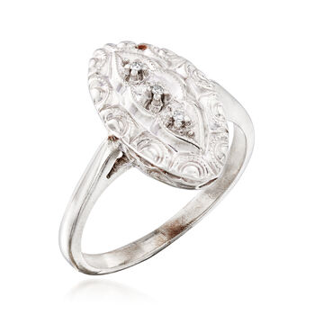 C. 1950 Vintage 10kt White Gold Navette Ring with Diamond Accents. Size 5, , default