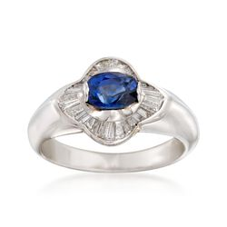 C. 2000 Vintage 1.10 Carat Sapphire and .65 ct. t.w. Diamond Ring in 18kt White Gold. Size 7.5, , default