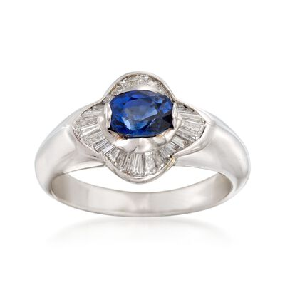 C. 2000 Vintage 1.10 Carat Sapphire and .65 ct. t.w. Diamond Ring in 18kt White Gold, , default
