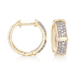 .33 ct. t.w. Pave Diamond Huggie Hoop Earrings in 14kt Yellow Gold, , default