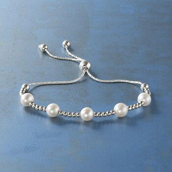 7-7.5mm Cultured Pearl Beaded Bolo Bracelet in Sterling Silver, , default