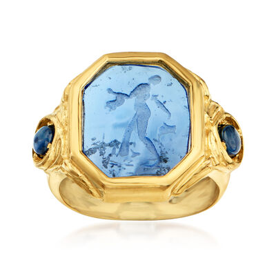 Italian Tagliamonte Blue Venetian Glass Intaglio and 2.00 ct. t.w. Sapphire Ring in 18kt Gold Over Sterling