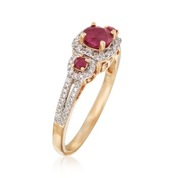 .70 ct. t.w. Ruby and .20 ct. t.w. Diamond Ring in 14kt Yellow Gold, , default