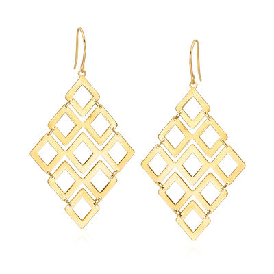 14k Yellow Gold Geometric Drop Earrings, , default