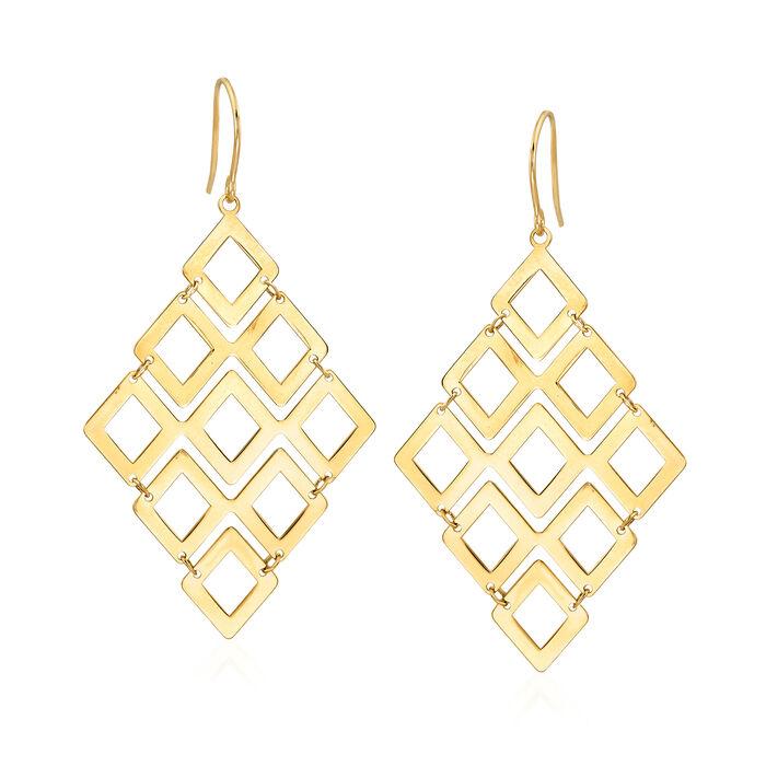 14k Yellow Gold Geometric Drop Earrings, , default