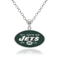 """Sterling Silver NFL New York Jets Enamel Pendant Necklace. 18"""", , default"""
