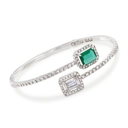 "2.00 ct. t.w. Diamond and 1.00 ct. t.w. Emerald Bypass Cuff Bracelet in 18kt White Gold. 7"", , default"