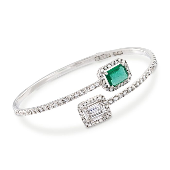 """2.00 ct. t.w. Diamond and 1.00 ct. t.w. Emerald Bypass Cuff Bracelet in 18kt White Gold. 7"""", , default"""