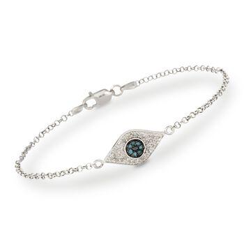 .20 ct. t.w. Evil Eye Diamond Bracelet in Sterling Silver, , default