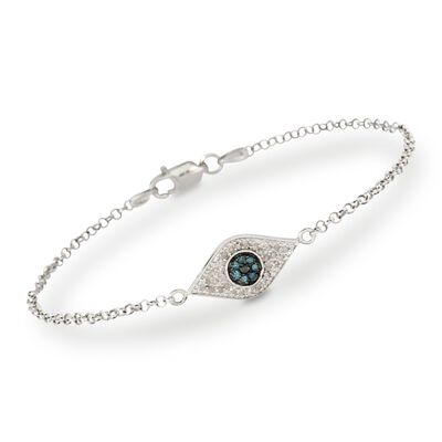 .20 ct. t.w. Evil Eye Diamond Bracelet in Sterling Silver, , default