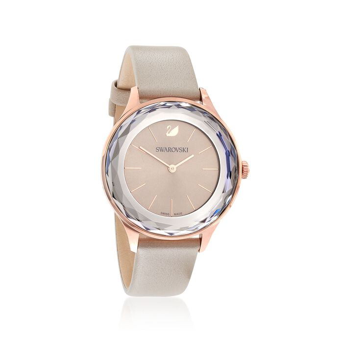 Swarovski Crystal Octea Nova Women's Rose Goldtone Stainless Watch with Gray Crystal and Taupe Leather