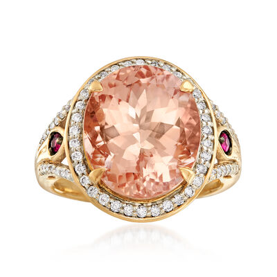 8.75 Carat Morganite and .43 ct. t.w. Diamond Ring with Pink Sapphire Accents in 18kt Rose Gold, , default