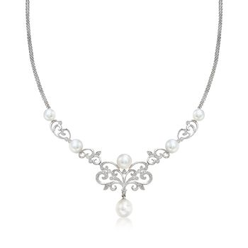 "7-10mm Cultured Pearl and .15 ct. t.w. Diamond Scrollwork Necklace in Sterling Silver. 18"", , default"