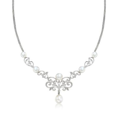 7-10mm Cultured Pearl and .15 ct. t.w. Diamond Scrollwork Necklace in Sterling Silver, , default