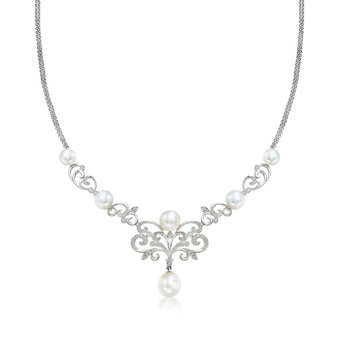 """7-10mm Cultured Pearl and .15 ct. t.w. Diamond Scrollwork Necklace in Sterling Silver. 18"""", , default"""