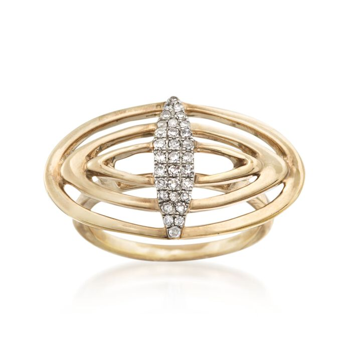 .22 ct. t.w. Diamond Open Geometric Ring in 14kt Gold Over Sterling. Size 5, , default